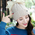 Autumn Winter Knitting Hats for Women Hat Bow Knot Knitted Warm Hat Female High Elastic Caps Beanies Headgear