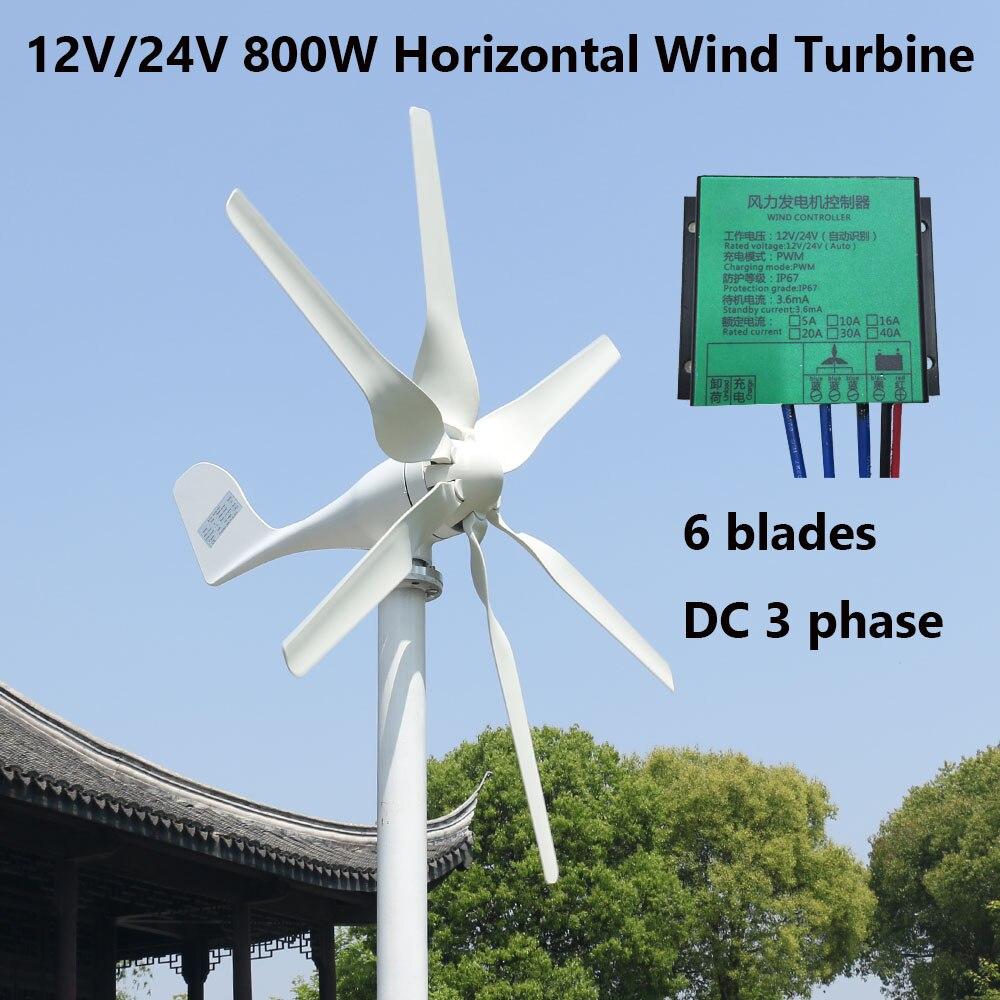 2019 venda quente 800w turbina eolica com 6 laminas 12v 24v opcao horizontal gerador de vento