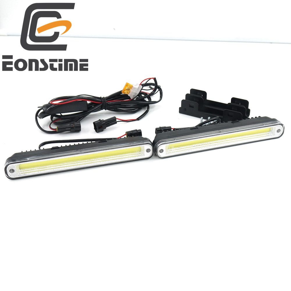 Eonstime 2pcs 20cm COB LED Vehicles Car Daytime Running Light DRL Super White Warning Lamp Installation Bracket 12V/24V E4 12v revolving warning light for vehicles red