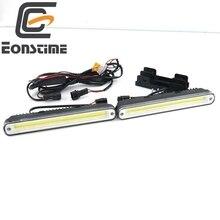 Eonstime 2 шт. 20 см вел транспортных средств автомобилей дневного Бег света DRL Super White Предупреждение лампа Установка Кронштейн 12 В /24 В e4