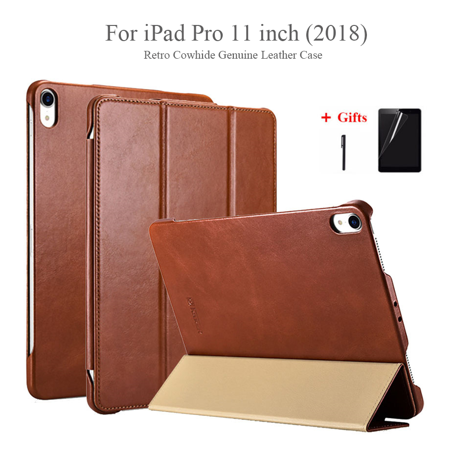 For New iPad Pro 11 2018 Retro Genuine Leather Magnet Smart Case Luxury Tri-Fold Stand Cowhide Leather Cover For iPad Pro 11For New iPad Pro 11 2018 Retro Genuine Leather Magnet Smart Case Luxury Tri-Fold Stand Cowhide Leather Cover For iPad Pro 11