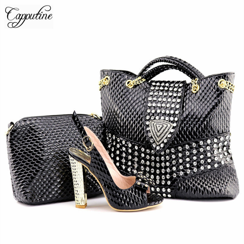 Capputine New Arrival PU Leather Woman Shoes And HandBag Set African Style High Heels Shoes And Bag Set For Party Size 38-42 capputine new arrival woman shoes and bag set nigerian design high heels shoes and bag sets for party free shipping bch 40