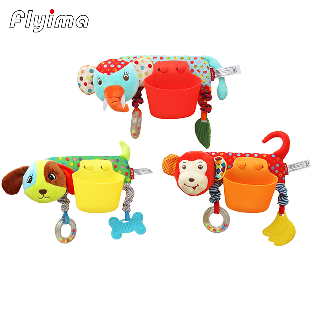 1PC Cartoon baby stroller toys 0-12 months teether Mobile Bed Carriages storage basket Dolls Newborn Rattles Toy