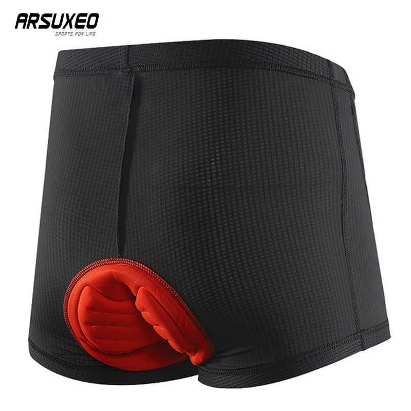 ARSUXEO จักรยานเสือภูเขาชุดชั้นในชายกางเกงขาสั้น Quick Drying Soft เจล Pad จักรยานกางเกงขาสั้น Breathable MTB กางเกง