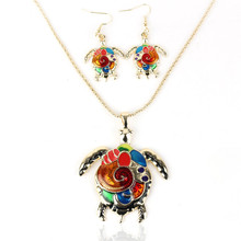 Jewelry Sets Tortoise Colorful Painted Necklace Earrings Set Turtle Pendant Necklace Set Drop Earrings Parure Bijoux Femme 20