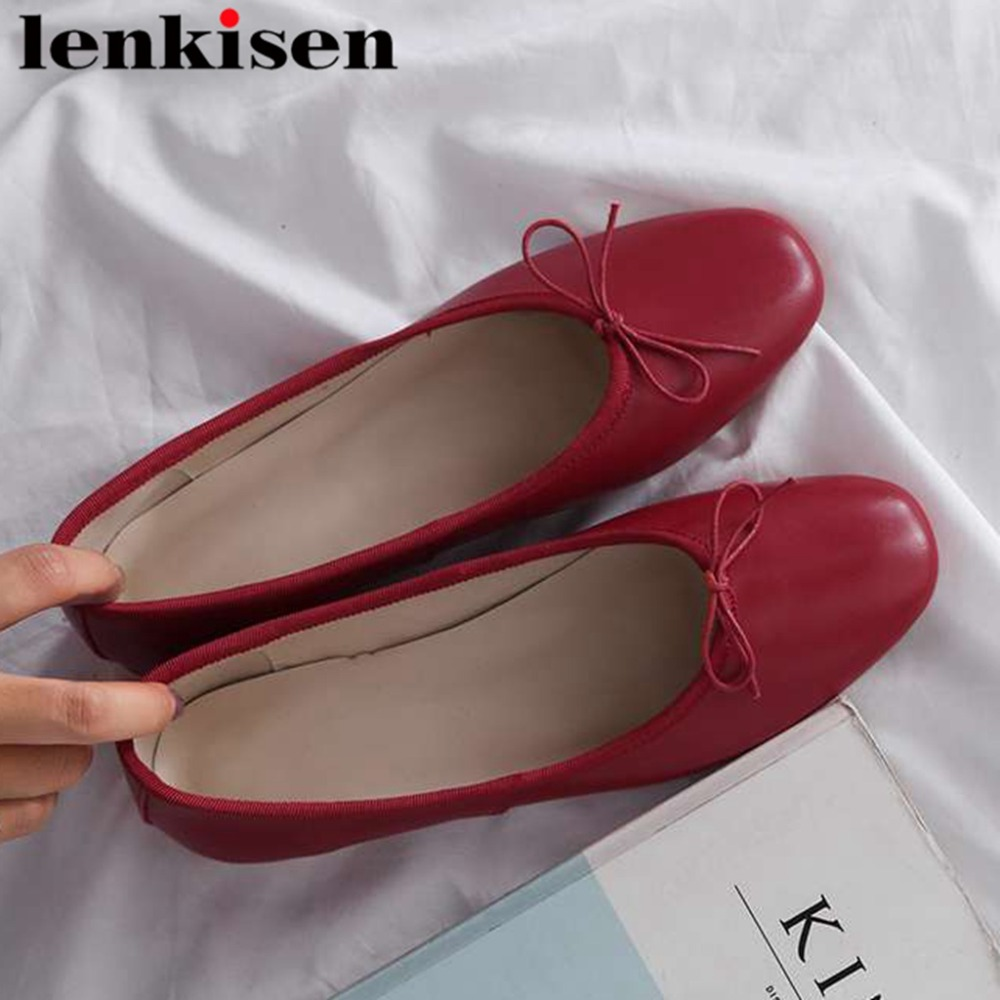 Lenkisen Hand sewn Leather Loafers Genuine Leather Square Toe Flat With Driving Shoes Bowtie Slip On