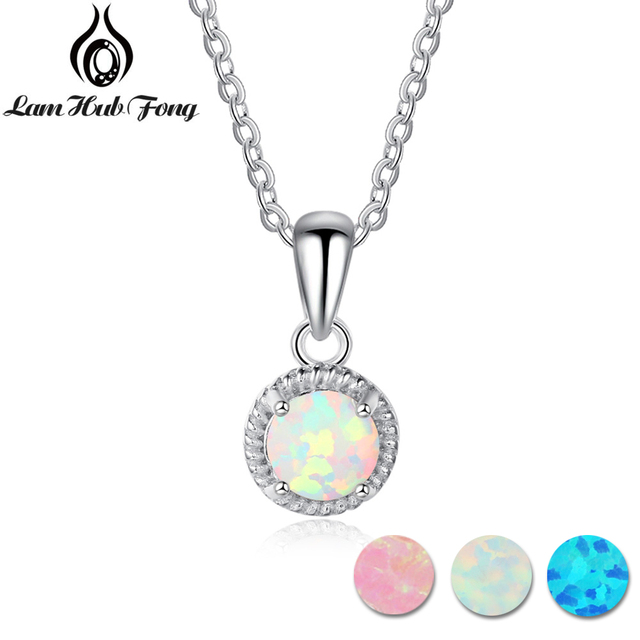 925 Sterling Silver Pendant Necklace Blue Pink White Fire Opal Jewelry Birthday