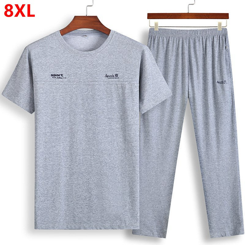 Men's Short-sleeved Thin Oversized Sets Plus Size Loose Half-sleeved T-shirt Trousers Summer Extra Large Size Sports Suit