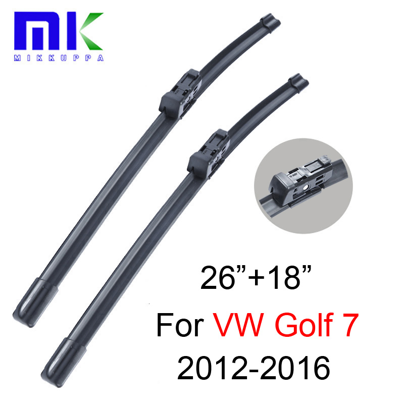 Wiper Blades For VW Golf 7 Fit Push Button Arms 2012 2013 2014 2015 2016,26+18 Windscreen Windshield Silicone Rubber Car Wiper wiper blades for vw golf 7 fit push button arms 2012 2013 2014 2015 2016 26 18 windscreen windshield silicone rubber car wiper