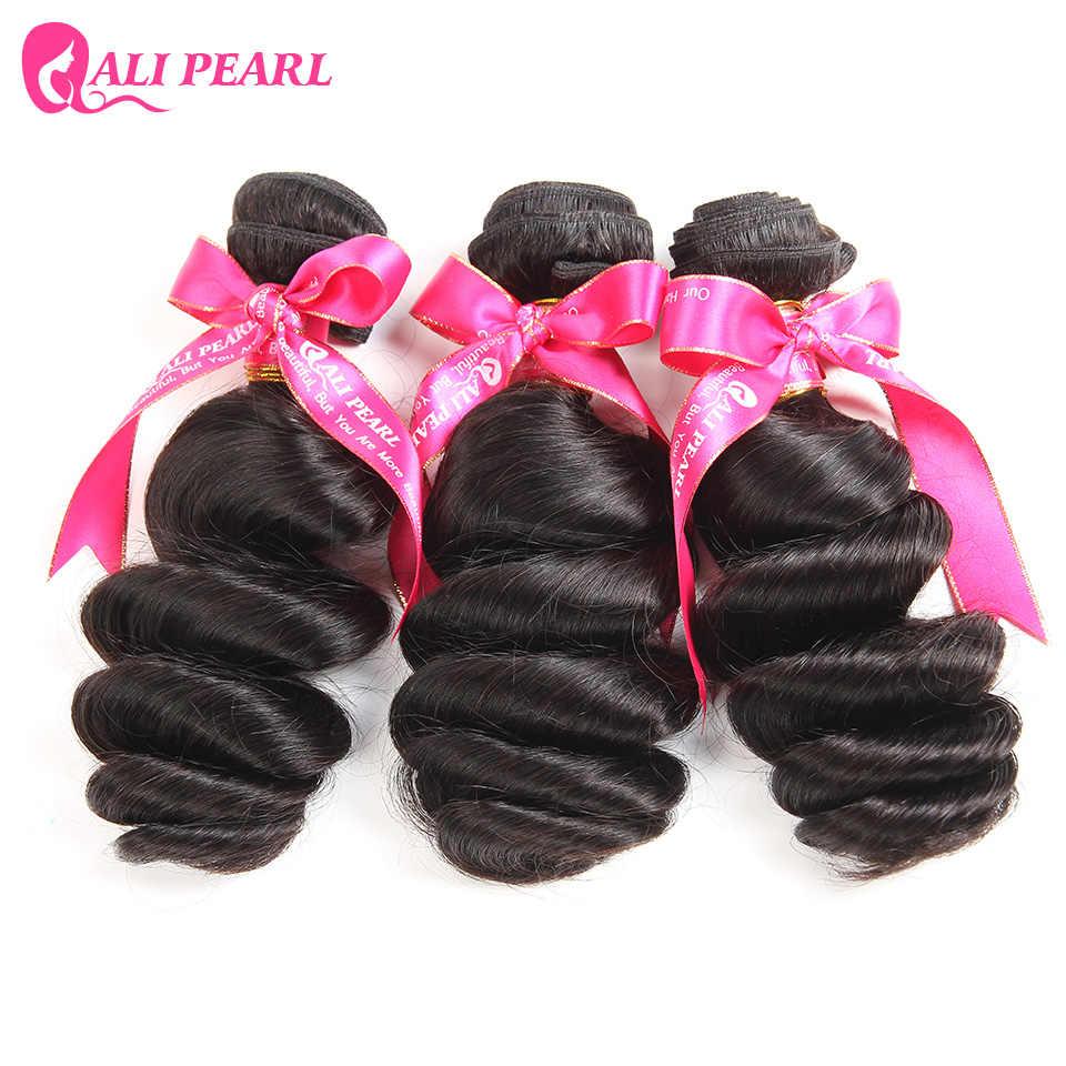 AliPearl Hair Loose Wave Bundles Peruvian Hair Weave Bundles Human Hair Weft 1 and 3 and 4 Bundles 8-26inch Remy Hair Extension