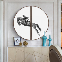 Modern minimalist restaurant decorative painting Semicircular framed Black and white horse American porch mural