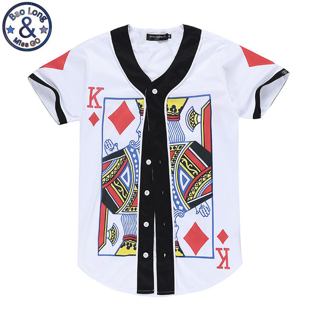 73bacbe0a2fe12 Poker Funny 3D Print Mens Buttons Homme Baseball Jersey 3D Shirt Streetwear  Tees Shirts Hip Hop T Shirt Play Card Top Tees