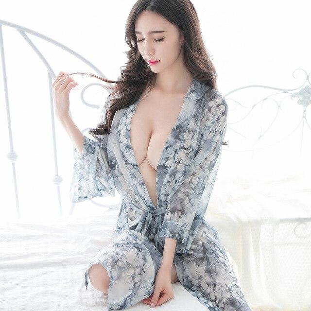 New Porn Women Kimono Sexy Transparent Erotic Bridal Lingerie Women Sexy Nighty Chiffon Lingerie Mysterious Sri