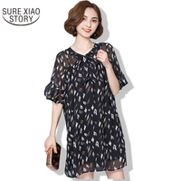 2017 Summer New Arrival Plus Size Chiffon Fahion Dress Female Casual Fat Mm Enlarge Code Loose