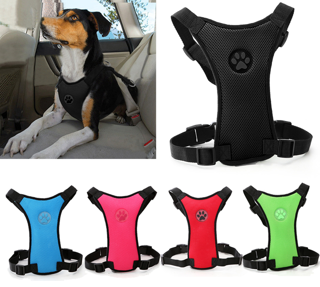 Soft Nylon Mesh Dog Seatbelt Harness Car Harness with Adjustable Straps Dog Walking Harness with Front Range Leash Attachment