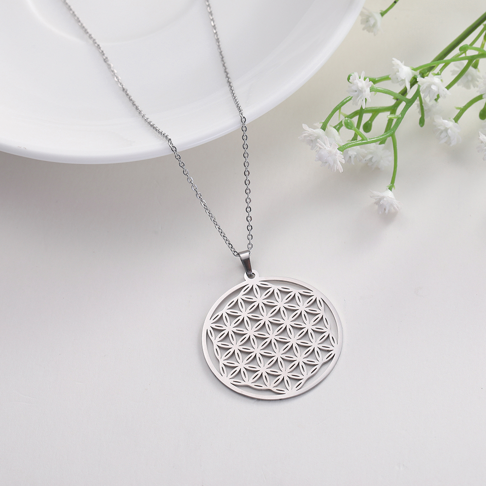 Skyrim Flower of Life Round Pendant Necklace Stainless Steel Gold Custom Choker Chain Necklaces Jewelry Gift for Women Girls