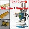 Máquina de estampación en caliente de cuero deboss máquina 2 en 1 (13x10 cm) 220 V + Customized die debossing Foil + kits de cinta adhesiva