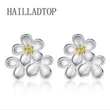 2a039c858 HAILLADTOP Dazzling Daisy Flower Stud Earrings for Women Jewelry Kids Earrings  Silver Color Female Earrings Romantic Schmuck
