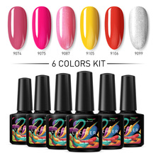 Lacheer 6Pcs/Lot Colorful UV Nail Gel Polish Set Super Shiny Led Varnish Semi Permanent Long Lasting Kits