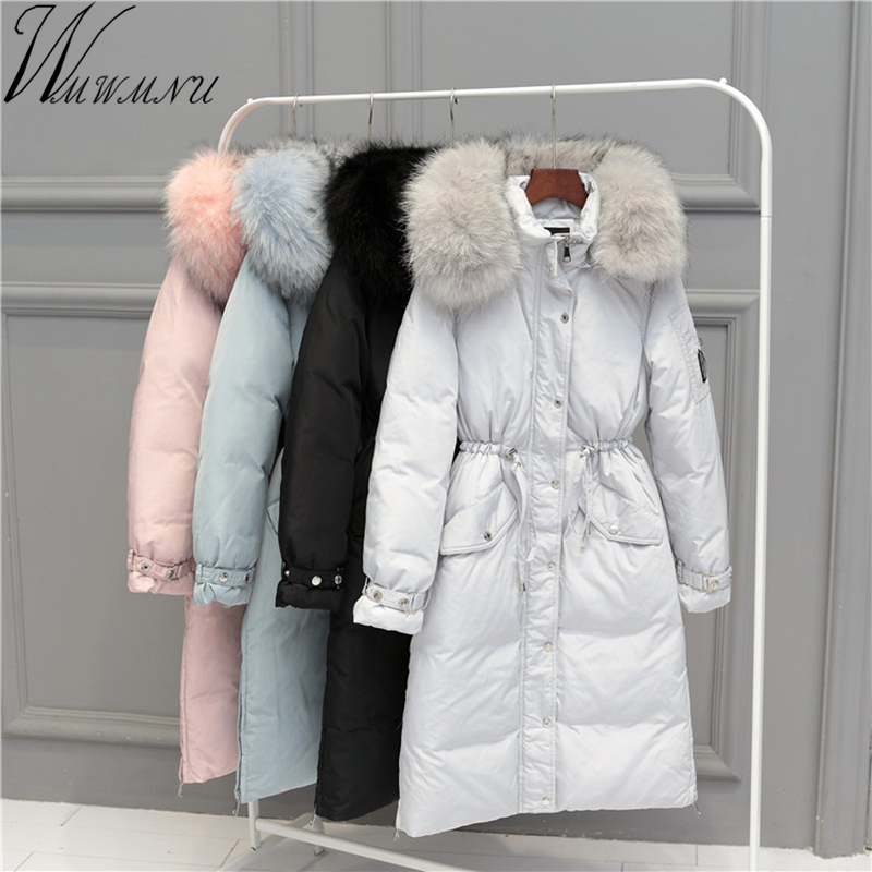 Wmwmnu 2017 Warm High Quality Woman Parka Winter long Jacket Coat with real raccoon fur collar Winter Women Thick Coat Jacket raccoon big fur winter warm down jacket 2017 new men thick hooded coat long mens parka jacket high quality brand 3 color 790