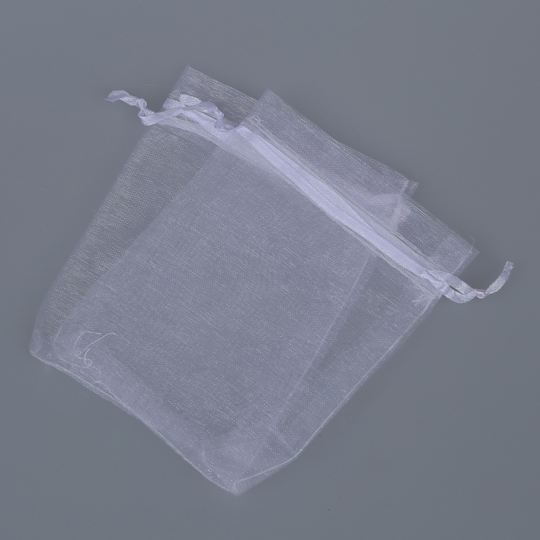 5 pcs of 100pcs White Eyelash Organza Drawstring Pouches Jewelry Party Wedding Favor Gift Bags 4X5
