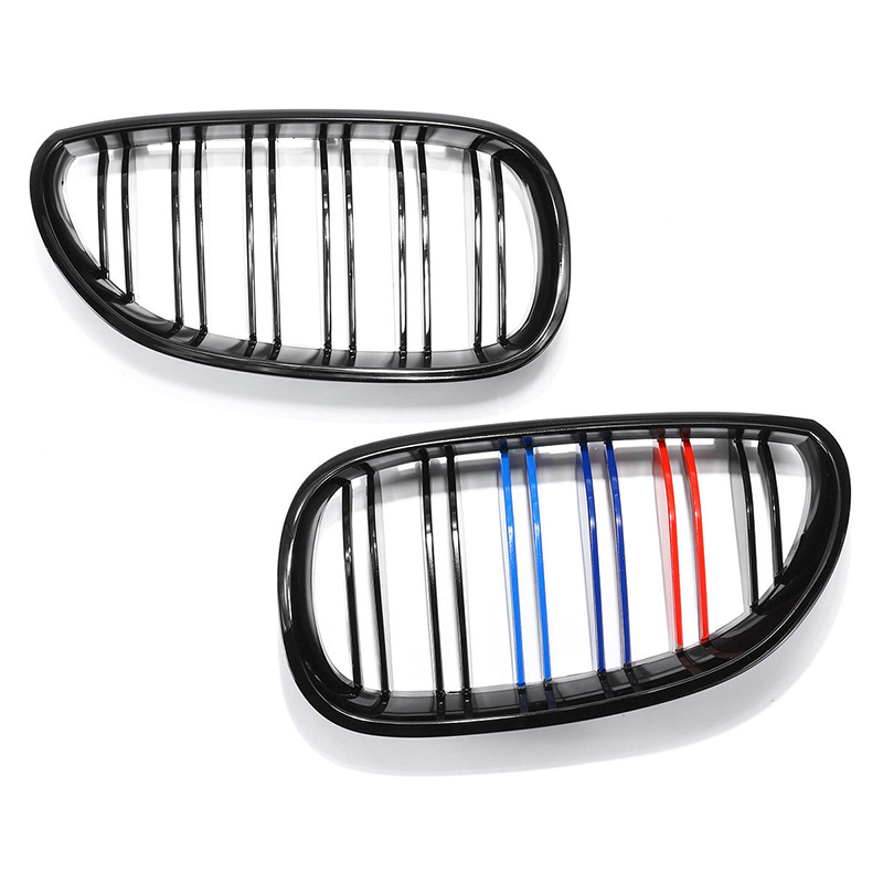 Image 2 - 1 Pair Glossy Black Front Kidney Grille Grill ABS Left/Right For BMW E60 E61 5 Series 2003 2010 Gloss Black Front Grille Cover-in Front & Radiator Grills from Automobiles & Motorcycles