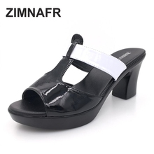 2017 new genuine leather thick heel female high-heeled slippers women's platform casual shoes slippers plus size