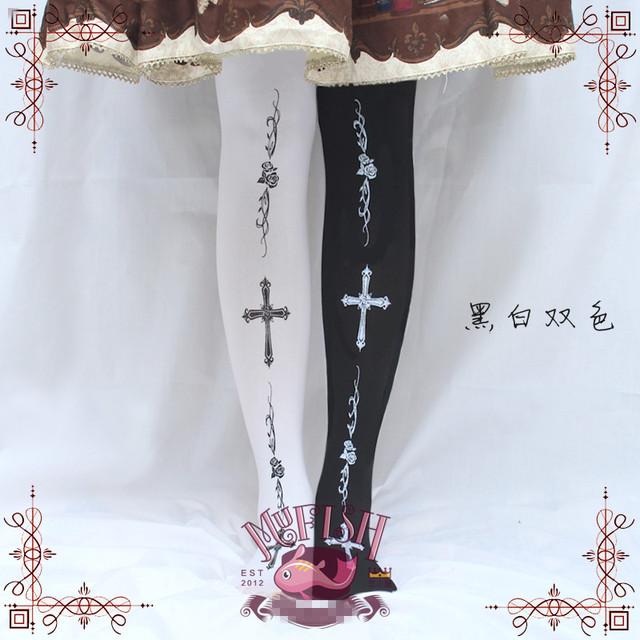 Princesa gótico lolita meias bebê Peixe original Japonês Subiu Cruz preto e branco impressão do joelho-meias altas sobre o joelho GXW12