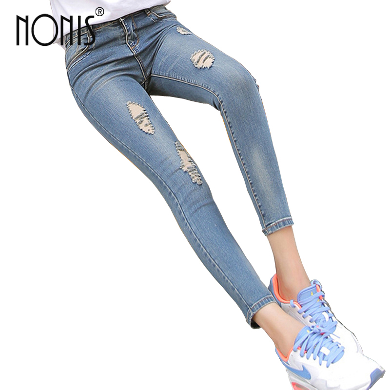Nonis women skinny Jeans pants Women Middle Waist Elasticity Pencil jeans ladies hollow out  denim pants Ripped Jeans For Women унитаз подвесной ideal standard tesi б сиденья