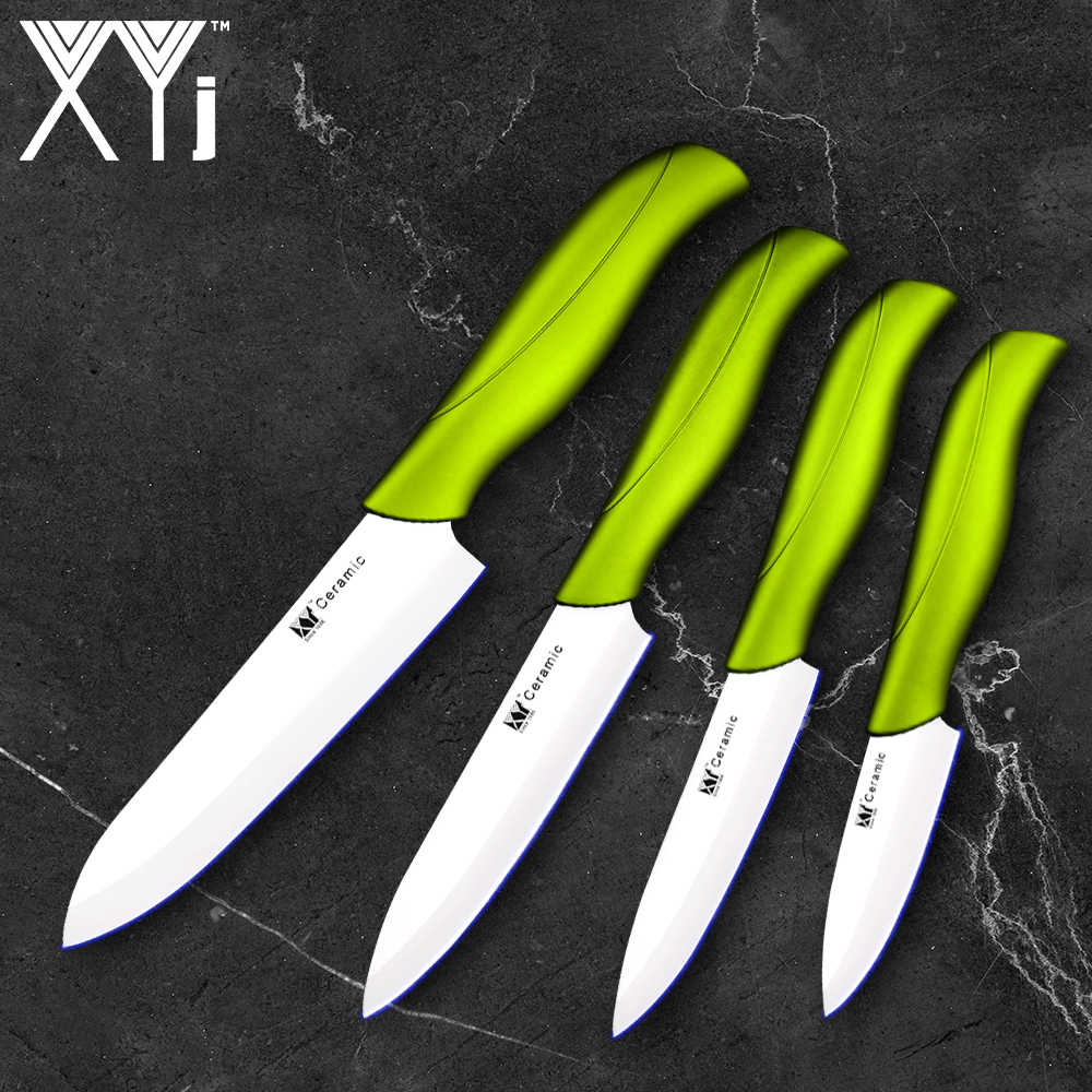 "XYj Black&White Blade Ceramic Kitchen Knife Zirconia Ceramic Knife Set 3"" 4"" 5"" 6"" inch + 4 Covers Gift Vege Meat Sushi Cleaver"