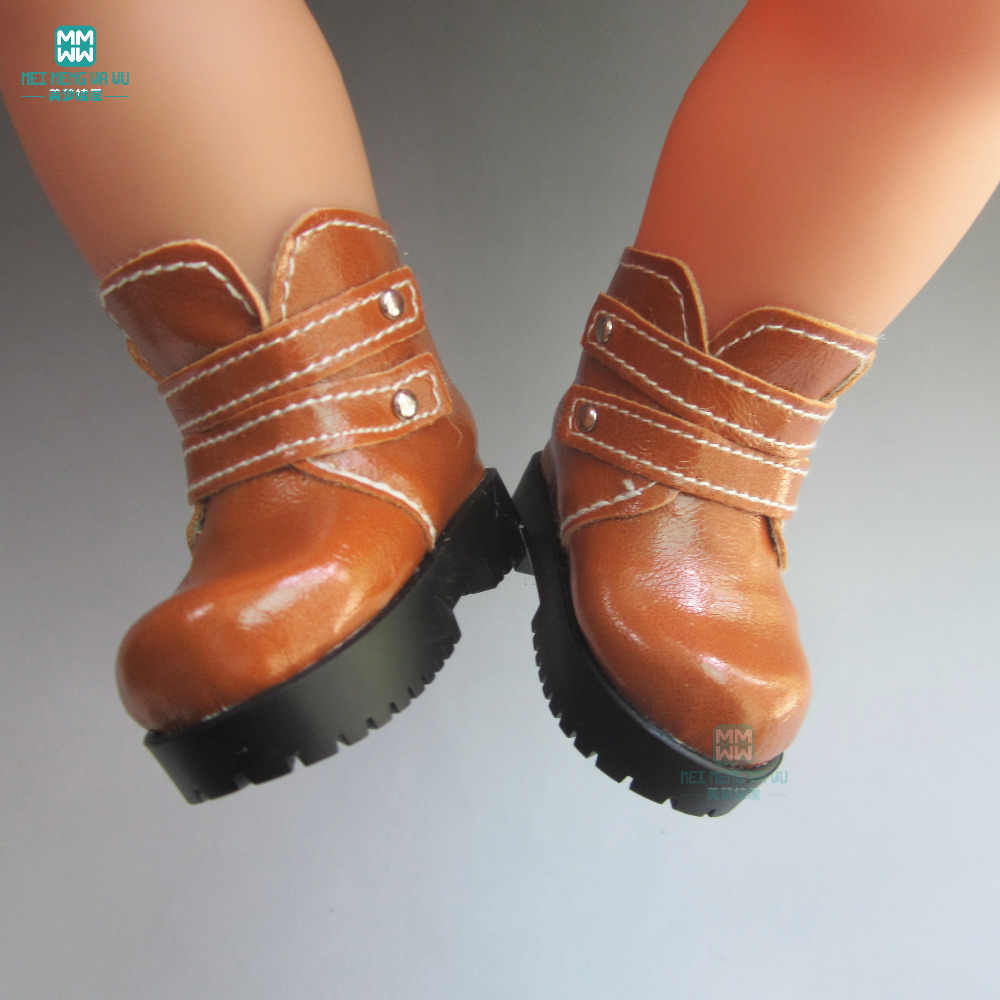 Doll Accessories 7.2cm Leather boots shoes for 1/4 bjd doll and 16 Inch Sharon doll shoes Mini Handmade doll