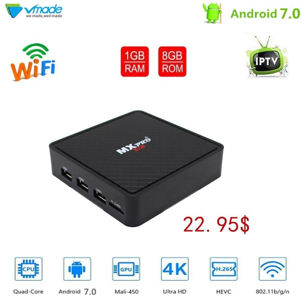 Vmade Andorid 7.0 Allwinner H3 Quad Core UHD 4 K H.265 Mini TV Box 1g/8g Soutien WIFI Netflix IPTV Smart Media Lecteur Set Top Box