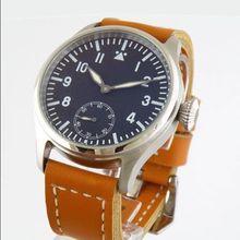 47mm PARNIS negro dial Especial @ 6 MECÁNICO de la mano de cuerda Del Reloj 6498 mens