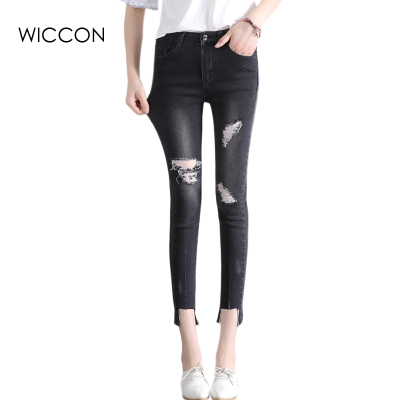 купить Summer Black Skinny Jeans Holes on Knee Women Ankle Length Pants Bleached Ripped Slim Denim women trousers Bottoms  WICCON онлайн