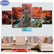 5 Pieces Buddha Statue diamond painting portrait,3d cross stitch diamond embroidery Landscape picture of mosaic full square arts