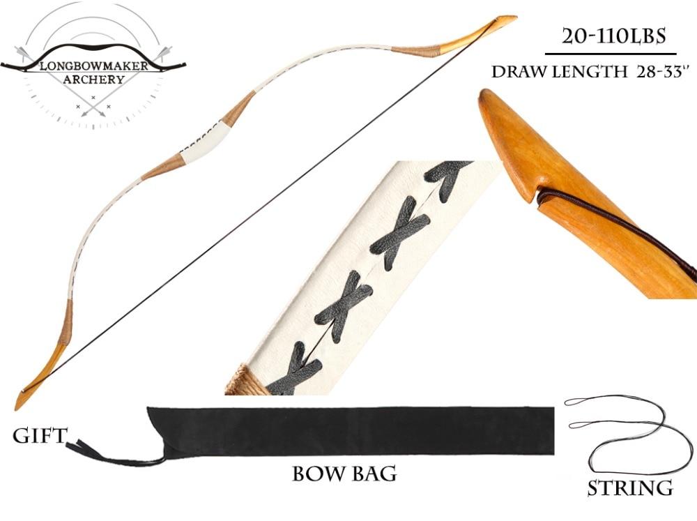 LongbowMaker 20-110 lbs Ali Bow Traditional Handmade Hungarian White Horsebow Longbow Archery Hunting Manchu bows longbowmaker handmade red pigskin kids bow archery hungarian style longbow for beginner 10 25lbs prp