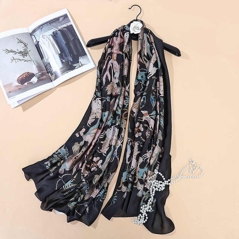 Брендовый шарф 180x90, женский шелковый шарф с принтом в виде листьев, мягкая длинная шаль, большой шелковый шарф с созвездием, новые модные женские шарфы хиджабы
