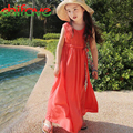 chifave 2016 New Summer Mom Daughter Family Dress Clothes O-neck Solid Sleeveless Dress Matching Mother Daughter Fashion Clothes
