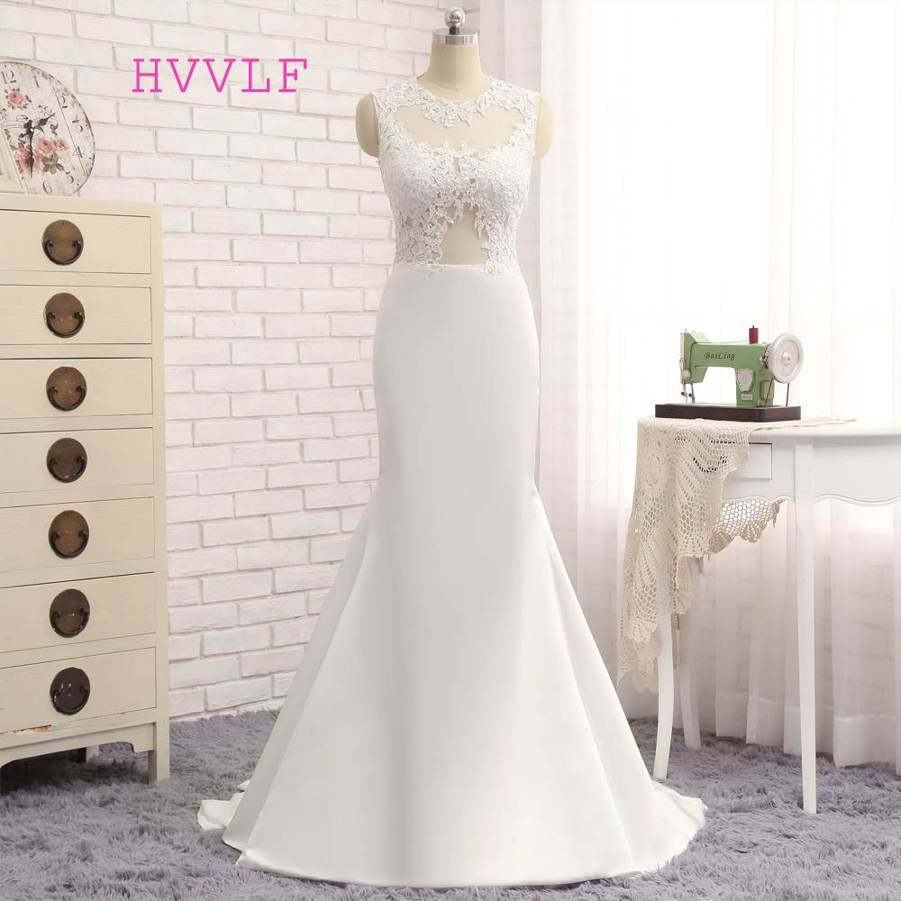 See Through 2019 Mermaid High Collar Sweep Train Appliques Lace Elegant Long Evening Dresses Evening Gown Prom Dresses Gown
