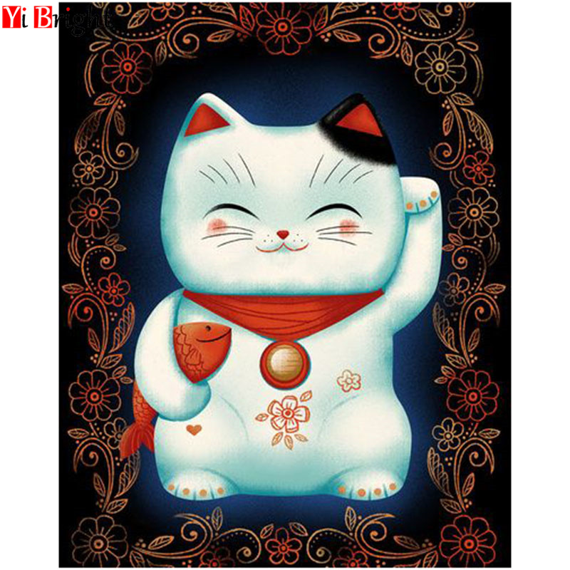 5D DIY Diamond Painting Cartoon Full Square Diamond Embroidery Sale Lucky Cat Picture Rhinestone Diamond Mosaic Home Decor XY1