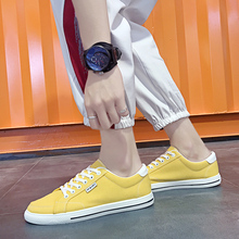 Men Outdoor Lace Up Comfortable Casual Shoes Breathable Canvas Sneakers Fashion Summer Yellow New Casuals