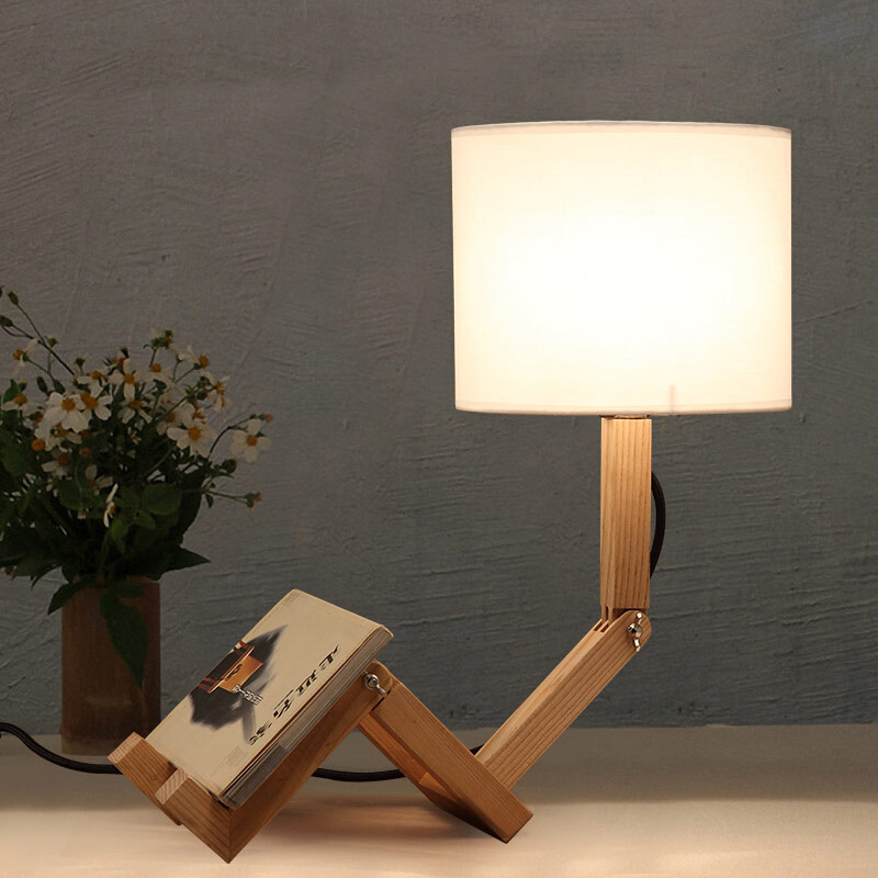 Simple Loft Robot Fold Industrial Table Light Edison Desk Wood Man Lamp Cafe Club Coffeshop Bedroom Beside Reading Lamp vintage loft industrial edison flower glass ceiling lamp droplight pendant hotel hallway store club cafe beside coffee shop