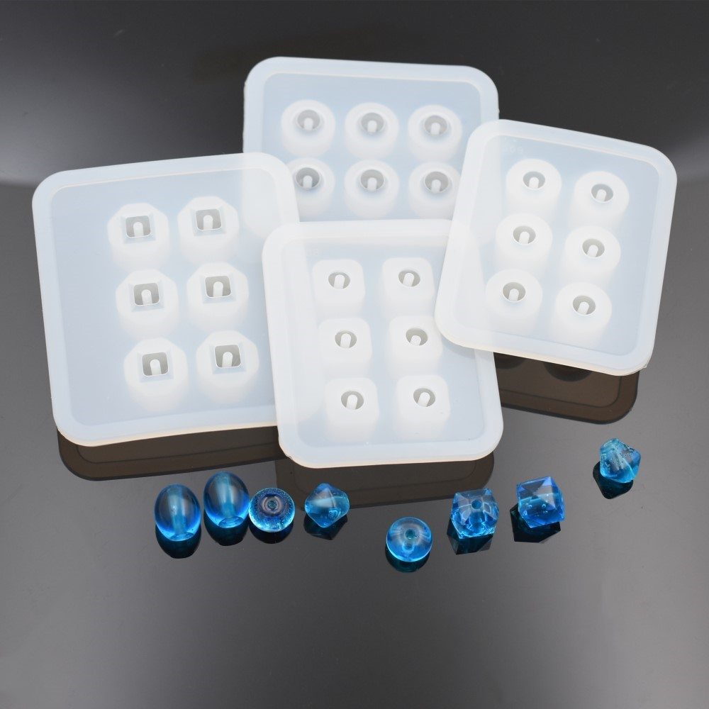 SNASAN 2pieces Silicone Mold For Jewelry 9mm12mm16mm Cube Ball Beads With Hole 6 Compartment Epoxy Resin Silicone Mould Handmade