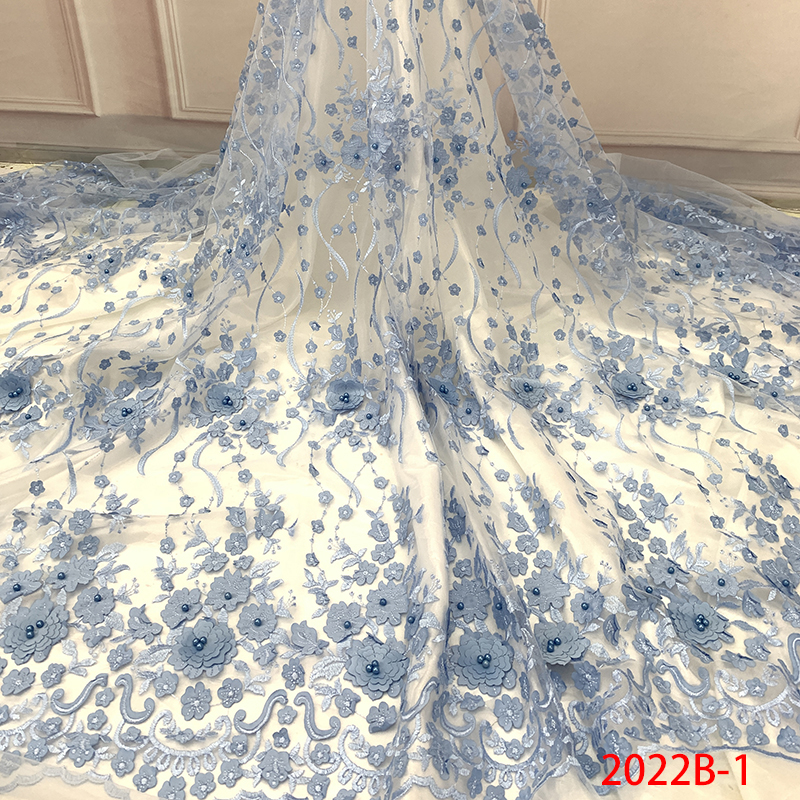 African French Lace Fabric 2019 Beaded 3D Tulle Lace Fabric High Quality Nigerian Embroidery Net Mesh Laces For Bridal KS2022B-1
