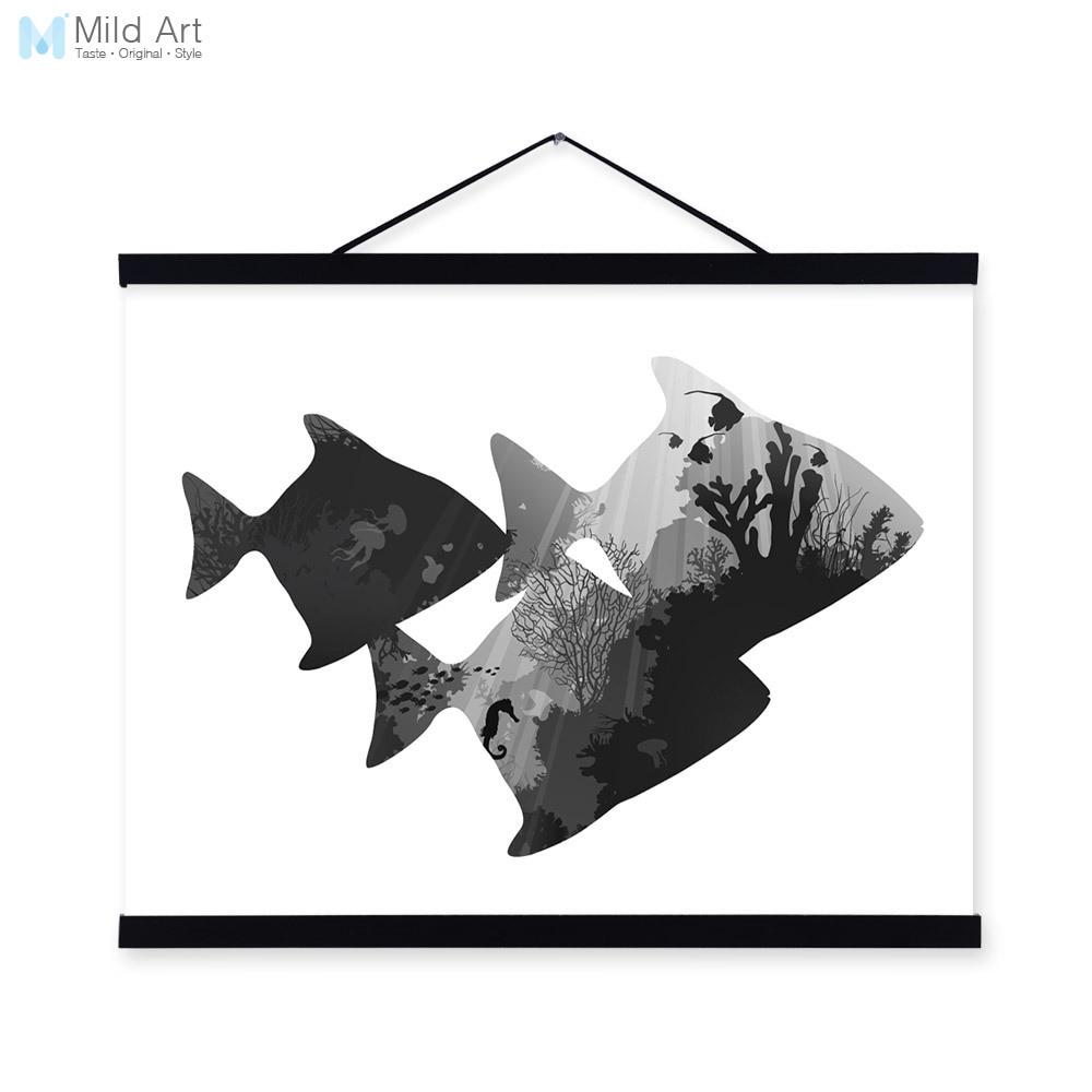 Sea Fish Black White Nordic Minimalist Animal <font><b>Hipster</b></font> A4 Framed Canvas Painting Wall Art Prints Picture Poster Hanger <font><b>Home</b></font> <font><b>Decor</b></font>