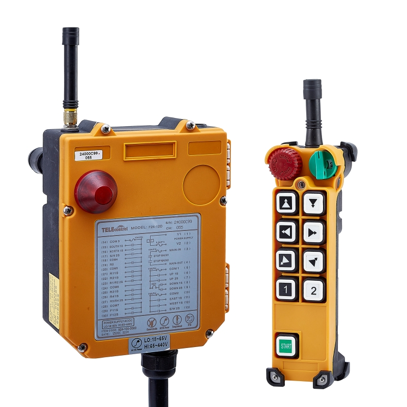 F24-8(include 1 transmitter and 1 receiver)One Speed 8 buttons Speed Hoist crane remote control wireless remote control Switch dc24v 8ch rf wireless remote control switch 8 receiver