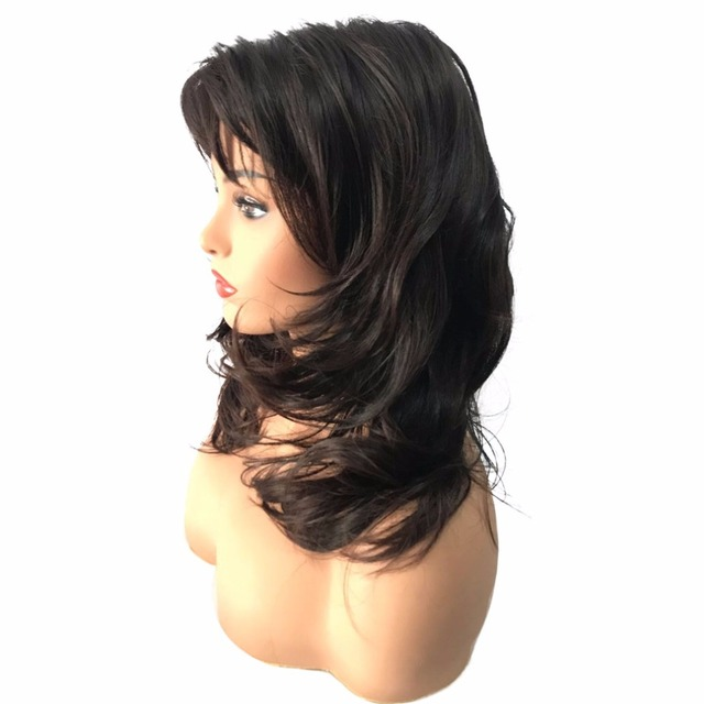 Strongbeauty Women Synthetic Wig Medium Length Curly Black Blonde