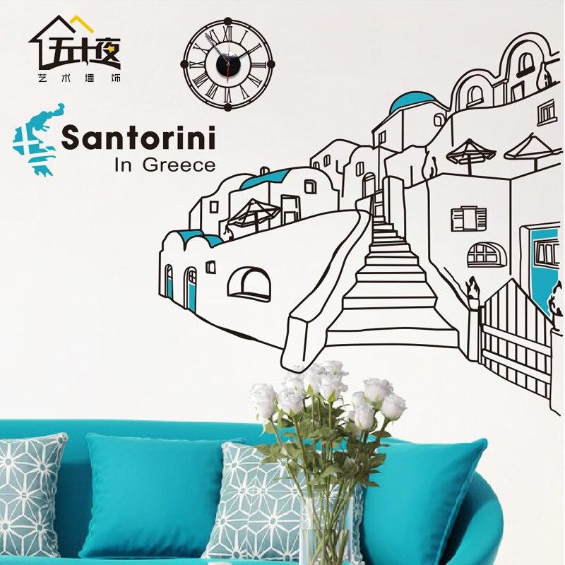 Santorin Art Sticker mural grèce santorin méditerranée paysage paysage bâtiment horizon vinyle Sticker mural salon décoration de la maison