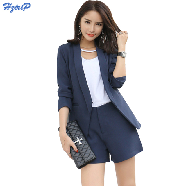 2017 Work Wear Short Pants Suit Women Summer Autumn Long Sleeved Blazer With Shorts Ol