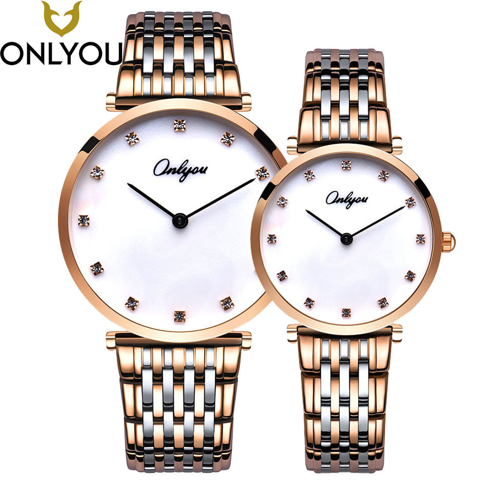 ONLYOU Lovers Watches Women 2017 Brand Luxury Clock Men Business Gold Watches Ladies Diamond Dial Waterproof Wristwatch Gift red stripe pattern stitching long sleeves t shirt